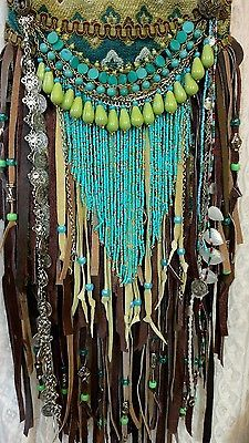 Handmade Fabric Brown Leather Fringe CrossBody Bag Hippie Boho Hobo Purse tmyers