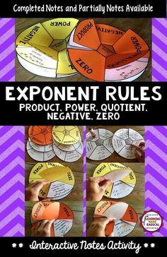 A very fun and creative way to take notes for exponent rules - power, product, quotient, zero and negative! These notes can be customized to you and your students needs - completed and partially completed versions available.