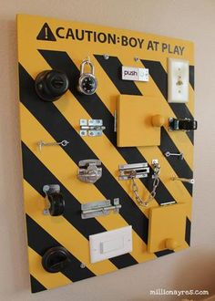 FUN Kids DIY Activities & Crafts to do Indoors at Home Busy Board for Boys. Not construction themed!Busy Board for Boys. Not construction themed! Busy Boards For Toddlers, Board For Kids, Diy For Kids, Cool Kids, Crafts For Kids, Family Crafts, Toddler Busy Board, Diy Toys For Toddlers, Busy Board Baby