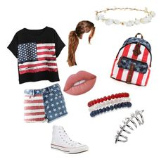 """""""#july4th"""" by flamingeos ❤ liked on Polyvore featuring beauty, Converse, Boohoo, Lime Crime, Chicnova Fashion, Bullhead Denim Co., Design Lab and Kim Rogers"""