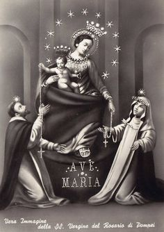 SS. Vergine del Rosario di Pompei  A vintage postcard of the miraculous image of Our Lady of the Rosary of Pompeii, Italy. Mary and Jesus are depicted presenting rosaries to St Dominic and St Catherine of Siena.