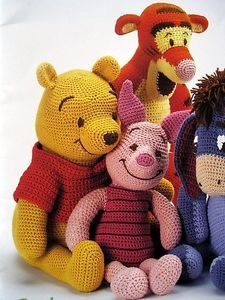 Winnie the Pooh, Piglet, Tigger, Eeyore amigurumicrochet pattern, winnie the pooh! - would love these but can't crochet :(PDF-Winnie The Pooh Tigger Ferkel und i-Ah von camilucidesign (Jouet Pour)We have put together the most beautiful amigurumi knit Chat Crochet, Crochet Mignon, Crochet Amigurumi, Knit Or Crochet, Amigurumi Doll, Amigurumi Patterns, Crochet Crafts, Crochet Dolls, Crochet Projects