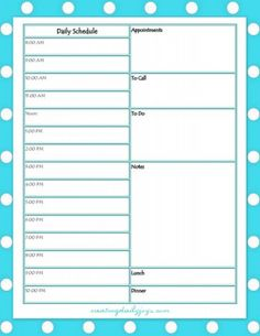 Daily Schedule - Free Printable | Series on Aging: Tips on Caring for Parents, Part Two: Get Organized | Creating Daily Joys | http://www.creatingdailyjoys.com/series-aging-tips-caring-parents-pt2-get-organized/ #printables #daily schedule