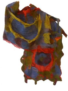Nuno Felted Shawl SHADES OF AUTUMN; Womans Stole; Gift for Her;Eco-Fashion;Earthly Colors  Highly textured nuno felted silk shawl SHADES OF AUTUMN red(Apple,Ruby, oOive, Steal Blue) and earthly colors (Mustard,Orange), is elegant and sophisticated for an evening party or everyday use which can be worn in a variety of ways, keeping you warm, cozy and sophisticated.  This fiber art product is created from Habotai Silk, and high quality Australian merino wool.  I carefully dye my silk and wool…