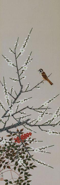 Japonais Art Scroll peinture oiseaux et fleurs par SakuraAntiques