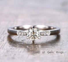 Round Moissanite Engagement Ring Pave Diamond Wedding 14K White Gold 5mm 6-Prong - Lord of Gem Rings - 1