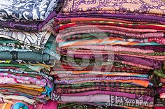 Group of colored fabric in a pile