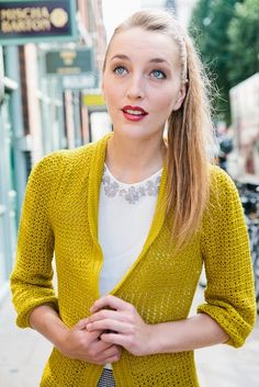 Pleated Cardigan by Kat Goldin   Inside Crochet - what a gorgeous colour