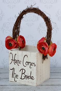 Shabby Chic Flower Girl Basket Rustic Fall Wedding
