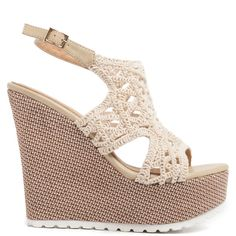 Beige platform with textiled knitted surface. Features two-toned woven platform wedge heel and fastens with adjustable ankle strap.