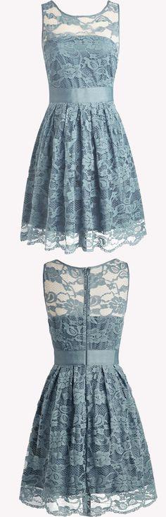 Vintage dress, A-line jewel bridesmaid dress,blue bridesmaid dress, lace bridesmaid dress.
