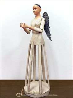 Small Wooden White Santos Cage Doll Angel with Wings.  [discontinued]