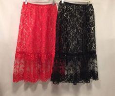 Vintage Half Slips L Black and Red 1980's Alan R. Large Nylon Sheer Frilly Lacy  #AlanR #HalfSlips