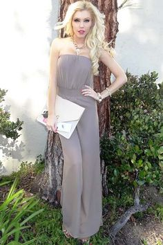 Super chic taupe chiffon jumpsuit featuring sheer legs & a cinched waist. This fabulous oufit has a fully lined top & shorts section. The sheer chiffon legs add a but of sexy edge to this incredibly chic jumpsuit. Perfect paired with cat-eye liner and our vegan leather skull clutch! Made in the USA.