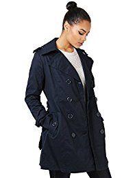 KRISP Damen Klassischer Trenchcoat Kurzmantel Winter Jacke Mantel Große Größen 36- 46