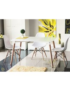 Modern dining room in Scandinavian style. Polish Signal Modern Furniture Store in London, United Kingdom Kitchen Chairs, Dining Chairs, Kitchen Chair Makeover, Dining Room Furniture Sets, White Dining Table, Modern Furniture Stores, Scandinavian Furniture, Scandinavian Style, Home And Living