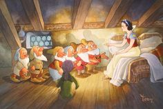 """Let Me Guess"" by Toby Bluth - Original Watercolor on Paper, 12.25 x 18.25.  #Disney #SnowWhite #DisneyFineArt #TobyBluth"