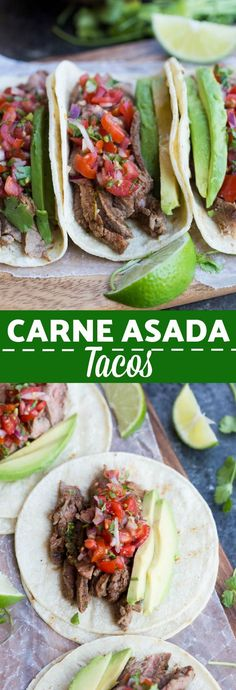 Carne Asada Tacos just as good as ones you could buy off the street in Mexico! Juicy, tender, marinated steak tacos served on a warm corn tortilla with fresh pico de gallo and avocado.