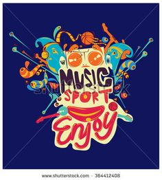 design vector colorful sport and music poster - stock vector