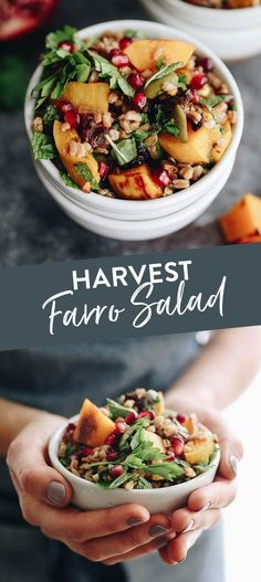 Harvest Farro Salad with Roasted Squash and Pomegranate Molasses Dressing