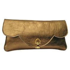 Gold 'Savannah' Leather Clutch Bag