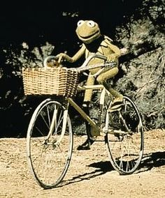 Kermit loves his bike - LOOKS LIKE VINTAGE KERMIT?  LOVE IT OF COURSE!