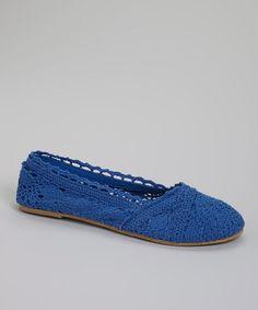 Loving this Blue Crocheted Slip-On Sneaker on #zulily! #zulilyfinds