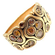 """18k Yellow Gold Diamond Swirling Water Ring by Alex Sepkus. Part of the """"Water Garden"""" collection. With 12 Round Brilliant Cut natural color diamonds. Total Diamond Weight: .61CT."""