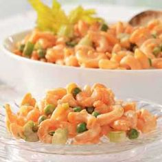 Shrimp Macaroni Salad-I'ma try this without the peas but with some other things added and as one person said..1000 isle dressing instead of recipe dressing