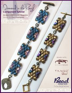 Click the image to make the beaded component that you can link together to make the bracelet seen here. Bracelet design by Cecil Rodriguez.