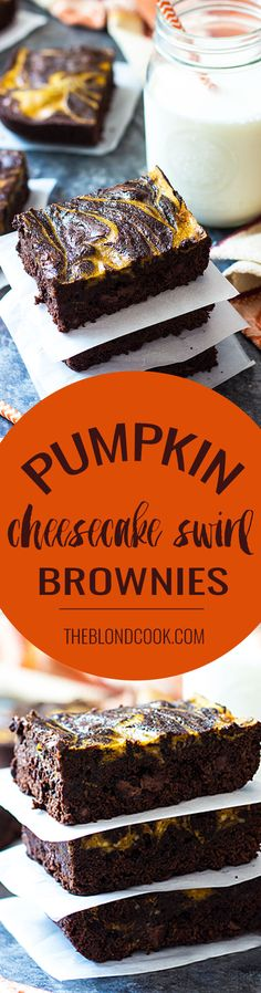 Easy Pumpkin Cheesecake Swirl Brownies that come together in less than an hour using a boxed mix!