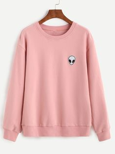 Shop Pink Drop Shoulder Sweatshirt With Alien Patch online. SheIn offers Pink Drop Shoulder Sweatshirt With Alien Patch & more to fit your fashionable needs. Alien Sweatshirt, Mode Kawaii, Vetement Fashion, Cool Outfits, Fashion Outfits, Fashion Women, Mein Style, Kawaii Clothes, Pastel Clothes