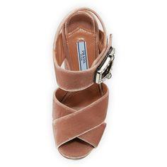 Prada Jeweled Velvet Block-Heel Sandal (62.670 RUB) ❤ liked on Polyvore featuring shoes, sandals, jeweled shoes, velvet shoes, prada shoes, block heel sandals and velvet sandals