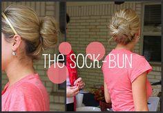 The Sock Bun: http://www.threepinkdots.com/2011/10/put-sock-in-it.html  Must try it!