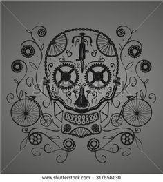 stock-vector-sugar-skull-made-with-bicycles-parts-good-for-a-tattoo-or-a-t-shirt-design-317656130.jpg (419×470)