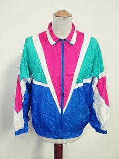 Vintage USA Pink Blue Punk Rock Pattern Rave Shellsuit Tracksuit Top Jacket M