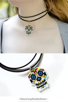 Sugar skull necklace Calavera choker necklace Day of the Dead Party Jewelry #calavera #choker #necklace