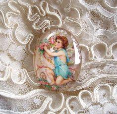 Victorian Angel 30X40mm Glitter Unset Handmade Art Bubble Cameo Cabochon #Handmade #Cameo