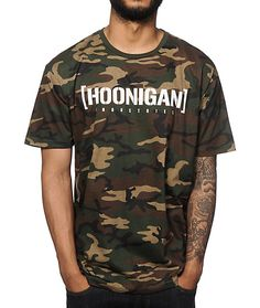 "Update your camo game with a comfortable tagless camo print and a white Hoonigan Industries stencil logo graphic at the chest and American flag print ""00"" back graphic."