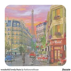 wonderful lovely Paris Square Paper Coaster