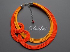 Colourful textile neon orange unique knot and favorite necklace COLORIKA© Textile part is long 42 cm and chain for customizable lenght. If you need custom lenght , longer or shortert textile part, let me know please in email Colours: neon, orange, silver If you want this set in another