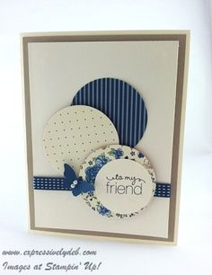 handmade card ... circles as focal point ... white and shades of blue ... luv the simplicity with clean lines ... Stampin' Up!
