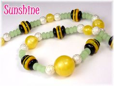 Sunshine - Satin Art Glass, Art Deco Glass, Green Sea Glass Bumble Bee Sterling Silver Necklace OOAK Jewelry