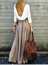 Alluring Long Sleeve Maxi Draped Open Back Dress