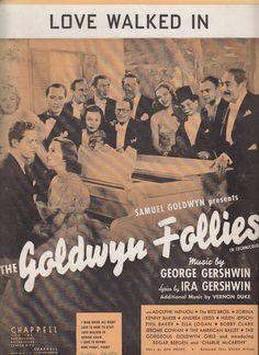 Love Walked In 1938 Sheet Music Goldwyn Follies George Gershwin Adolph Menjou