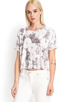 Flat hair is not always a bad thing ;)! Boxy Floral Knit Tee | FOREVER21 #SummerForever