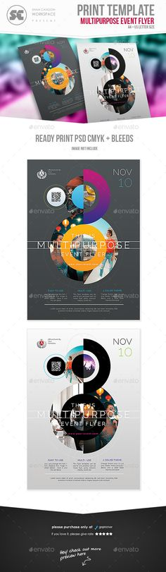 Buy Multipurpose Flyer by shamcanggih on GraphicRiver. Flyer templates designed exclusively for event, business, promotion or any of use. Fully editable, image/logo can be. Corporate Flyer, Business Flyer, Letterhead Business, Corporate Design, Business Cards, Logo Rond, Design Package, Flyer Layout, Poster Layout