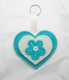 Teal & Cream Heart Felt Keyring or Bag Charm - The Supermums Craft Fair
