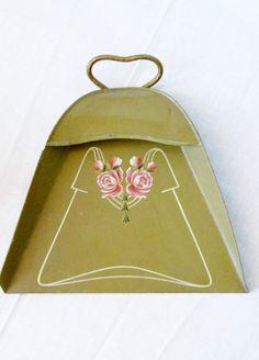 Blech - Tischschaufel Jugendstil handgemalt emailemalerei Rosen ca 1900 TOP