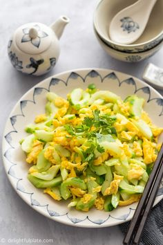This Stir-Fried Cucumber with Egg features crunchy and juicy cucumbers sautéed with soft scrambled eggs. It comes together quickly in just one pan, perfect for busy weeknight dinners. It is vegetarian, gluten-free and dairy-free. Easy Vietnamese Recipes, Asian Recipes, Stir Fry Cucumber, Fried Cucumbers, Healthy Cooking, Healthy Recipes, Egg Ingredients, Mexican Breakfast Recipes, Egg Dish